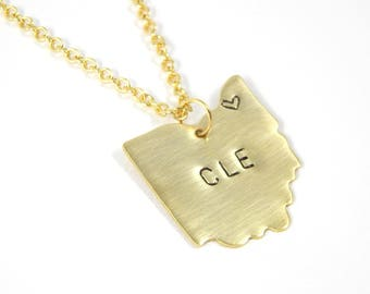 Cleveland Necklace - Cleveland Ohio - Ohio Necklace - State Necklace - Cleveland Sports - Home Jewelry - Ohio State - Fan Jewelry
