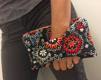 Navy Orange Blue Floral Bow Clutch Purse