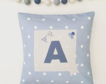 Personalised Initial Applique Cushion  - Boys