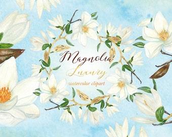 Magnolia luxury watercolor clip art. White magnolia flowers. Hand drawn graphics.