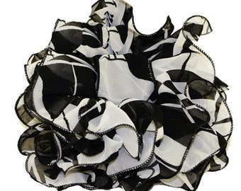 Jumbo Size Chiffon Clip Bow, Bow on Jaw Clip Jumbo Size , Chiffon jumbo size Bow with , Large size Bow On Claw Clip, Black/White