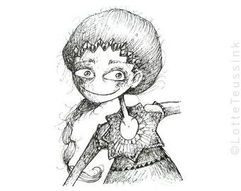 Original ACEO card, big eyed girl drawing, original art card, quirky black & white illustration, artist trading card, atc, weird fantasy art