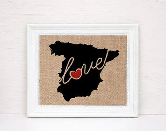 Spain Love - Burlap or Canvas Paper State Silhouette Wall Art Print / Home Decor (Free Shipping)