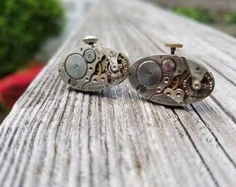 Beautiful Antique Silver Hamilton Watch Movement Cuff Links