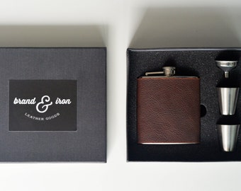 flask gift box set personalized with initials - Brown leather