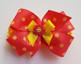 Lottie-da - Polka Dot Headband - Ribbon Bow - Soft  Headband - Infant Headband - Toddler Headband - Pink and Yellow HairBow - Hair Accessory