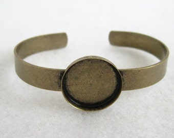 2pcs Antique bronze 20mm Bracelet base  accessories, bracelet bezel cup setting Jewelry findings  xb0001