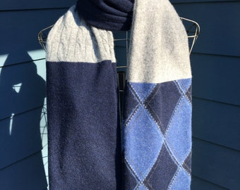 """Luxe Recycled 100% Cashmere Scarf - Blue/Gray/Argyle Patchwork - 7.5"""" x 74"""""""