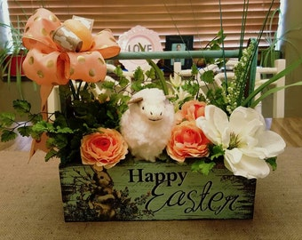 Easter Tool Caddy arrangement, Tool caddy, Floral arrangement, Home decor, Easter Lamb Decor, Easter decor, Lamb Decor