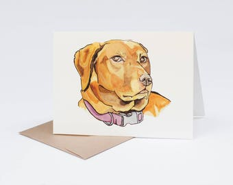 A7 Dog Greeting Card, Chocolate Labrador, Lab, Pen and Ink Drawing