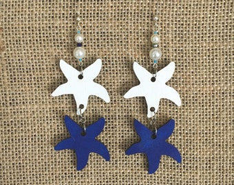 Large starfish hand painted laser cut birch wood earrings with chandelier drop fish hooks customizable pick your colors