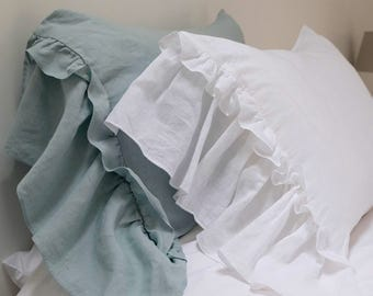 Linen Pillowcase, RUFFLED Linen Pillowcase, Long Side Ruffle, Linen Bedding. Pair. Farmhouse decor, Shabby Chic