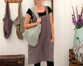 Linen Apron, Linen Cross Back Apron, Japanese Apron, Pinafore Apron, Linen Apron Dress. CHARCOAL Apron