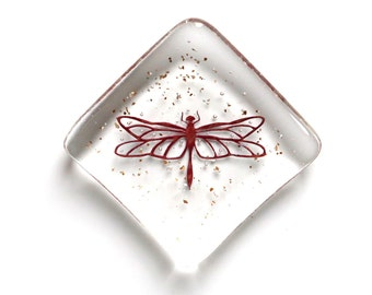 Dragonfly Fused Glass Dinky Trinket Dish, earring bowl, cufflink tray, ring dish, keepsake