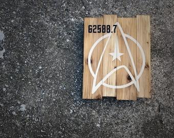 Star Trek Starfleet Command Insignia Logo with Optional Stardate - Cedar Wood Wall Art