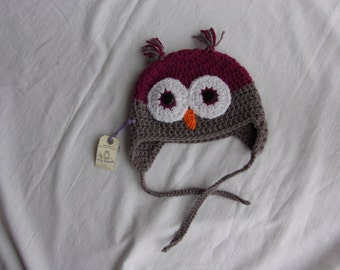 Owl Hat 6-12 months, ready to ship, RASPBERRY/GREY, winter hat, baby gift, baby shower, photo prop, woodland creature,