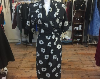Leslie Fay Navy Wrap Dress with flowers