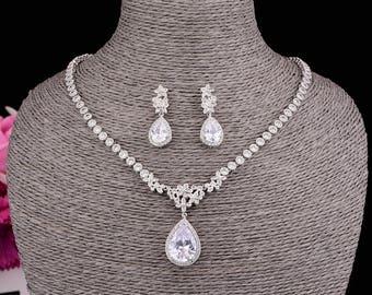 Flower Zirconia Necklace Set Wedding Necklace Set Bridal Jewelry Wedding Jewelry Bridal Pendant Necklace Anniversary Gift KD800172