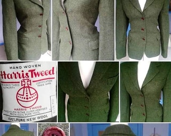 1940s Style VOLUP Green Harris Tweed Tailored Jacket!