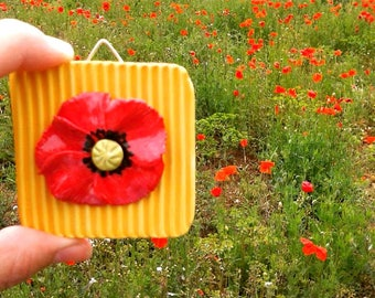 Small tile with poppy-wall decoration-decoration spring Poppy