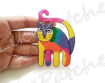 IRON ON PATCH - Rainbow Big Cat, Kitty, Animal Print New Sew / Iron On Patch Embroidered Applique Size 5.5cm.x8.2cm.