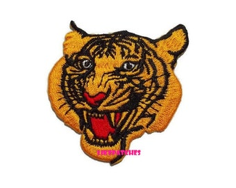 Tiger Patch - Tiger Face - Wild Animal New Sew / Iron On Patch Embroidery Applique Size 5.6cm.x5.9cm.