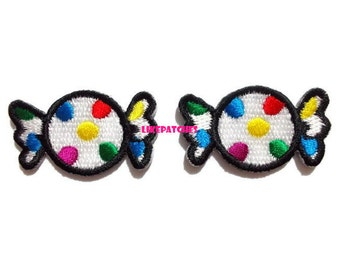 Set 2 pcs. Polka dot Rainbow Toffee Sweet Candy New Sew / Iron On Patch Embroidered Applique Size 3.5cm.x2.1cm.
