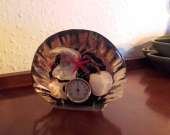 Vintage 60's mid century red and black perspex shell paperweight thermometer