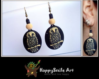 Handmade One Of A Kind Earrings Cameo Owl Jewelry Resin Dangle Earrings Unique Giftidea Gift For Her