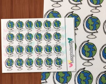 Globe Icon Stickers - Planner stickers - ECLP, Happy Planner, Filofax, scrapbooking and more!
