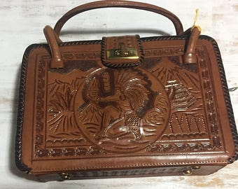 NOS - Vintage Mexican Tooled Leather purse with original price tag!