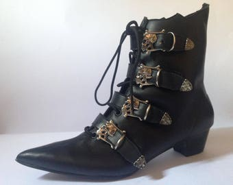 Goth Pikes Cuban Heel  SKULL  BUCKLES Winklepickers boots Gothic Batcave WGT Siouxsie 80s Leather, Vegan unisex
