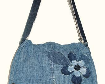 My Sweet Karma upcycled jeans messenger bag purse