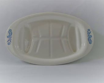 Vintage Corning Ware Roasting Pan, Serving Tray, Meat Serving Platter, Blue Cornflower, Ovenproof Glass, P-19, 1970