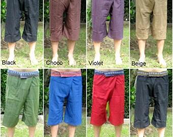 Yoga Fisherman Pants Thai Pants Capri Fisherman Thai Fisherman Pant Wrap Yoga Pants Short Hippie Pants Burning Man Free Shipping*CF-W
