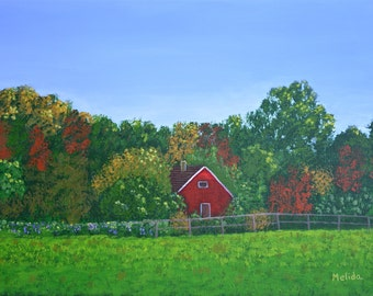 Print of my Original,  The Red House, Colorful Landscape, Acrylic Painting, Art, Gift Idea, Housewarming, Valentine Gift