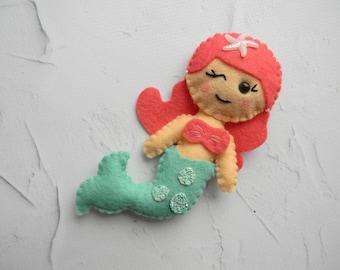 Felt mermaid ornament Mermaid nursery decorations Mermaid party decor Ariel The Little Mermaid Disney Plush Mermaid toy Mermaid cake topper