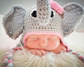 Crochet Elephant Earflap Beanie Hat with Pink Flower/Photography Prop/Baby Shower Gift/Halloween Costume/Cake Smash Photography Prop