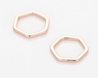 BULK(30%DC) - Hexagon Pendant, Geometric jewelry Supplies Matte Rose Gold- Plated - 30 Pieces [P0572-MRG]