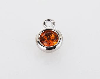 Topaz November Birthstone Charm, 3mm CZ  Birthstone Necklace, Personalized Jewelry, Polished Rhoidum-plated -1pc [P0368-PRTP]