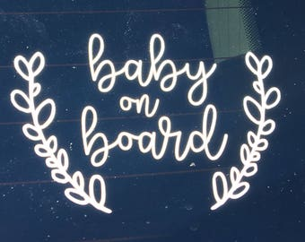 Baby on Board Car Decal | Wreath Baby on Board Decal | Baby on Board Sticker | OnSkinkerLane
