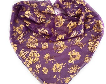 Purple with Gold Floral Scarf, Gift for Graduation, Birthday gift idea,  Summer wedding shawl, Purple Head Scarves for Bridal Shower