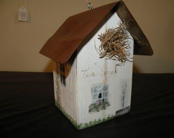 "Wooden Painted ""Tea Shop"" Decorative Bird House"