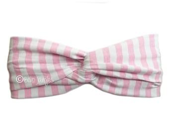 Headband Baby Pink Stripe, Pretty Hair Band, Twist Hairbands, Stretchy Turban Headband, Boho Headbands, Yoga Headband, Running Hairband