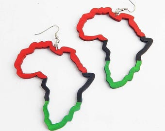 RBG Africa Earrings African Jewelry Wood Earrings Africa Map Outlined Natural Jewelry African Earrings Motherland Red Black Green