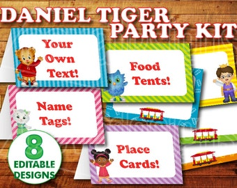 Printable Daniel Tiger Birthday Food Label / Daniel Tiger Party Food Tent Cards Instant Digital Download with Daniel Tiger O the Owl Elaina