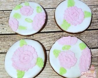 """Pretty Flower Decorated Sugar Cookies 3"""" -1 dozen"""