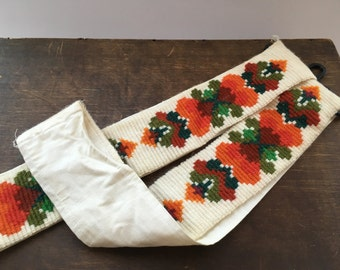 Swedish vintage tray holder Mid century tray holder Embroidered tray holder Orange brown green tray holder