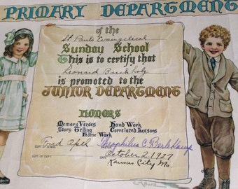 Vintage SUNDAY SCHOOL CERTIFICATES, 2 Sunday School Certificates, 1927 Sunday School Certificate, 1929 Sunday School Certificate, C. M. Burd