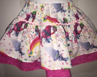 Girls Trolls Poppy Troll Boutique Birthday Skirt Twirly Skirt! Toddler Baby Infant Birthday Party 2 3 4 5 6 7 8 10 12
